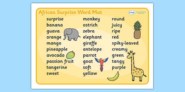 African Surprise Word Mat Text - words, literacy, aid, visual
