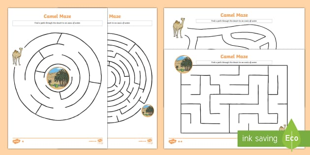 Camel Differentiated Maze Activity Sheet Pencil Control Path Activity Sheets