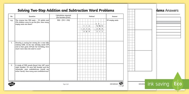 Differentiated TwoStep Maths Word Problems Activity Sheet Pack – Two Step Addition and Subtraction Word Problems Worksheets