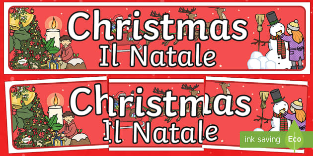 Christmas Display Banner Italian Translation English/Italian - Christmas Display Banner - christmas, display banner, display, banner, banner for display, classroom