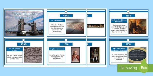 River Thames Timeline Cards - river Thames, rivers, thames, london bridge, brdiges, sewers, the great stink, tudors, romans, londi