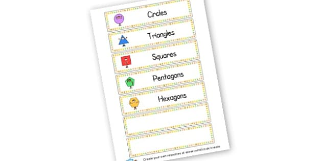 2D Shape Tray Labels - 2D Shapes, Classroom Signs and Labels, 2D Shape Primary Resources