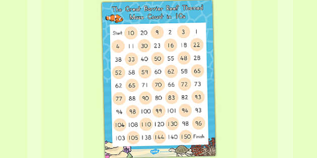 Great Barrier Reef Counting in 10s Maze Worksheet - australia