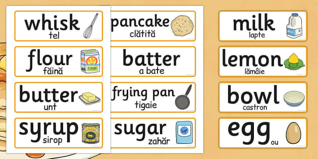 Pancake Day Recipe Word Cards EAL Romanian Translation - romanian