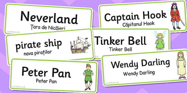 Peter Pan Word Cards Romanian Translation - romanian, peter, pan