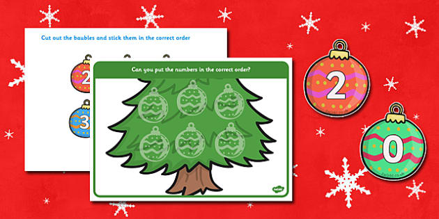 Christmas Number Ordering (Baubles) -  Christmas, xmas, number ordering, number, order, ordering, advent, nativity, santa, father christmas, Jesus, tree, stocking, present, activity, cracker, angel, snowman, advent , bauble sorting, large, small, cou