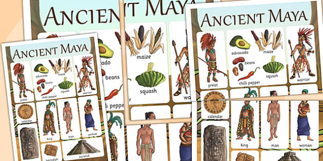 Maya Civilization Vocabulary Mat - mayan, history, visual aid