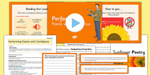 Performing Poems with Confidence Lesson Teaching Pack - poems