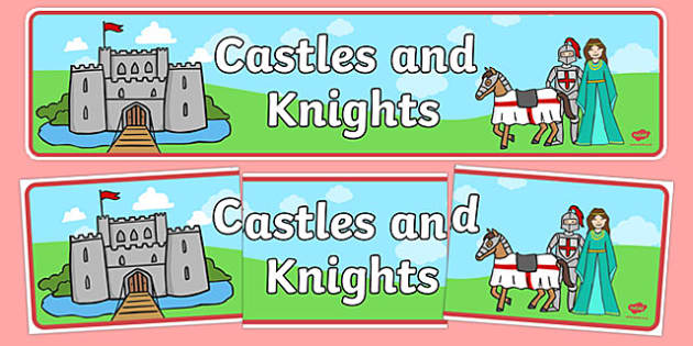 Castles & Knights Display Banner - Castles, Knights, Display, Posters, Freize, Castles and Knights, maiden, castle, tower, dragon, sword, horse, flag, shield, dungeon