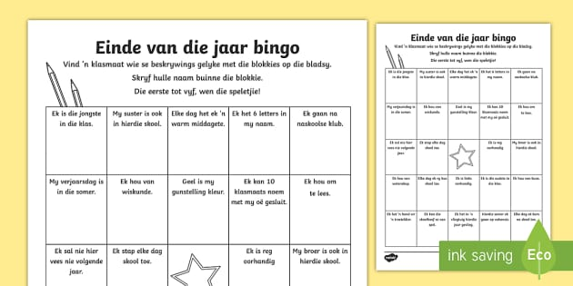 Einde van die jaar bingo aktiwiteitsbad - Einde van die jaar, skool jaar, laaste dag, bingo, speel