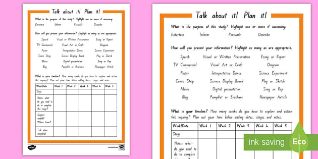 Inquiry Plan it! Activity Sheet - Inquiry Cycle postersinquiry planstudent plantalk about it!inquiry timelineprojectresearch