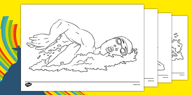 The Olympics Swimming Colouring Sheets - Swimming, Olympics, Olympic Games, sports, Olympic, London, 2012, colouring, fine motor skills, poster, worksheet, vines, A4, display, activity, Olympic torch, events, flag, countries, medal, Olympic Rings, ma