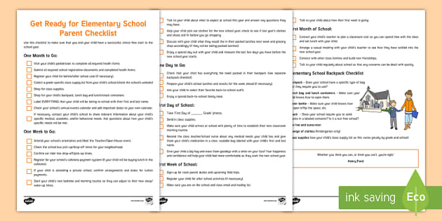 Get Ready for Elementary School Parent Checklist
