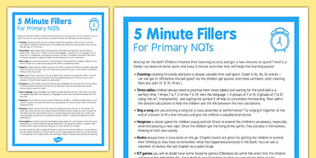 5 Minute Fillers for Primary NQTs KS2 - fillers, primary, nqt, ks2