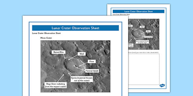 Lunar Craters Observation Sheet - lunar craters, observation, sheet