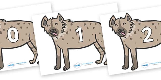 Numbers 0-31 on Hyenas - 0-31, foundation stage numeracy, Number recognition, Number flashcards, counting, number frieze, Display numbers, number posters