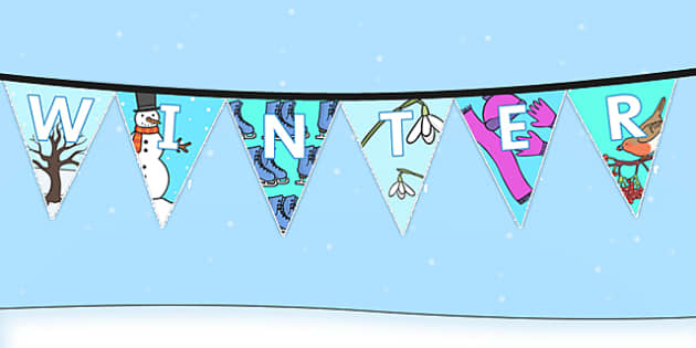 Winter Display Lettering Bunting - winter, display, bunting