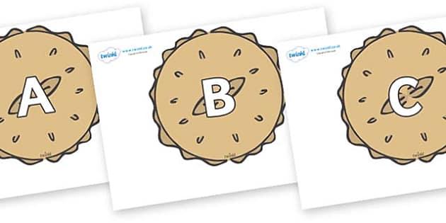 A-Z Alphabet on Pies - A-Z, A4, display, Alphabet frieze, Display letters, Letter posters, A-Z letters, Alphabet flashcards