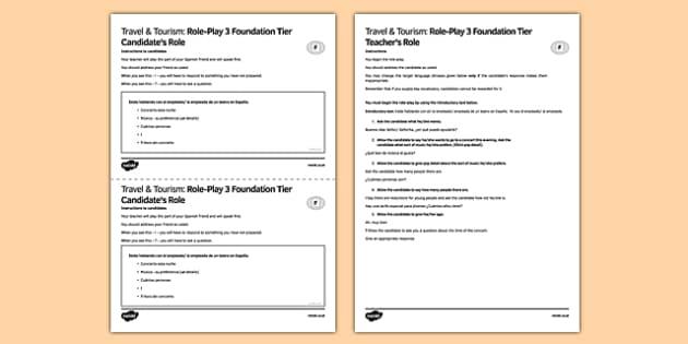 Viajes & Turismo 3 Juego de rol Foundation Tier - spanish, Theatre, speaking, role-play, foundation, going out, teatro, juego de rol