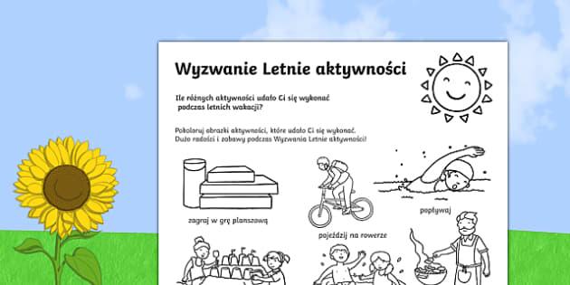 Wyzwanie Letnie aktywności po polsku , worksheet