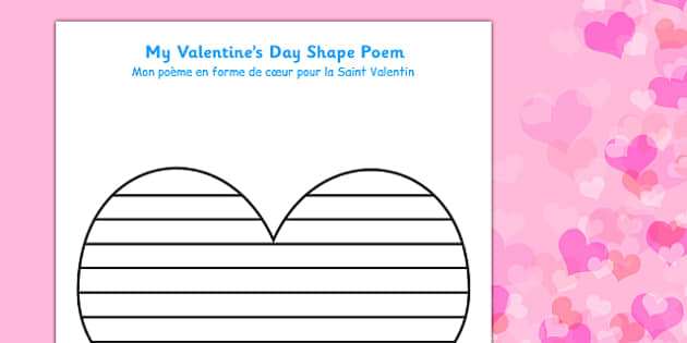 Valentine's Day Shape Poetry Template French Translation - french, shape, poetry, poems