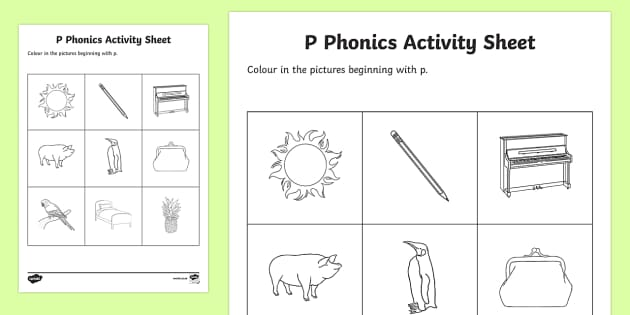 p Phonics Colouring Activity Sheet - Republic of Ireland, Phonics Resources, sounding out, initial sounds, activity sheet, colouring, pho