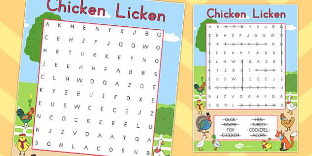 Chicken Licken Wordsearch - australia, chicken licken, wordsearch