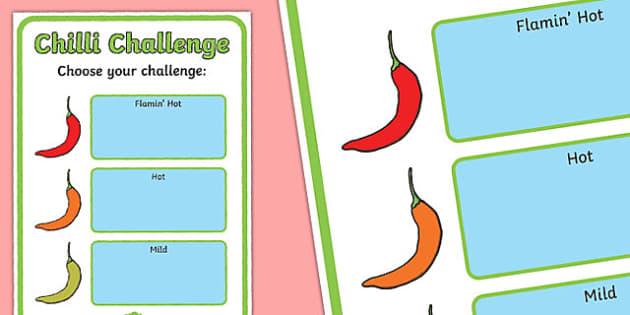 Editable Chilli Challenge Poster - chilli challenge, editable poster, editable, poster, display