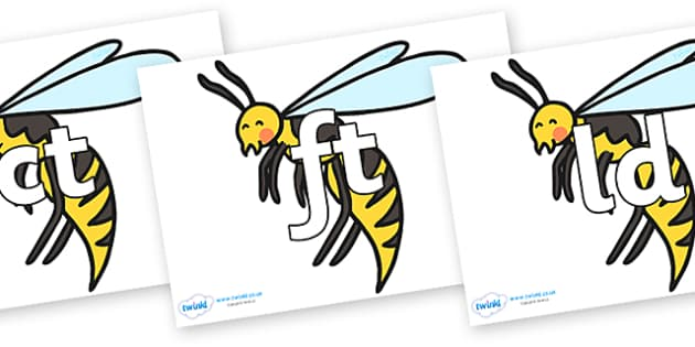 Final Letter Blends on Wasps - Final Letters, final letter, letter blend, letter blends, consonant, consonants, digraph, trigraph, literacy, alphabet, letters, foundation stage literacy