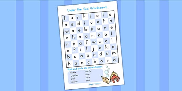 Under the Sea Wordsearch - under the sea, fish, word search