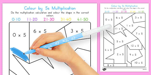 Colour by 5s Multiplication - australia, colour, 5s, multiplication, maths