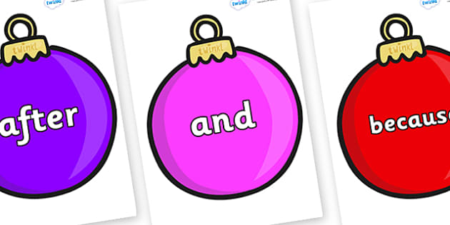Conjunctions on Baubles (Plain) - Connectives, VCOP, connective resources, connectives display words, connective displays