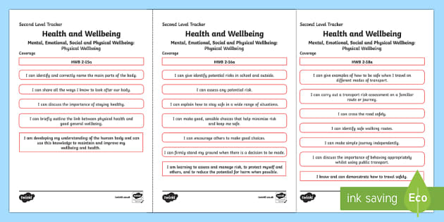 CfE Health and Wellbeing (Physical Wellbeing) Second Level Child Friendly Tracking-Scottish