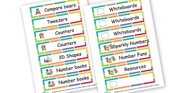 Maths Trolley labels - Maths Area Primary Resources, maths is fun, signs, labels, areas