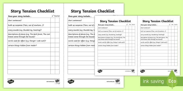 Story Tension Checklist - story tension, story writing, writing a story, story writing checklist, tension, tension checklist, tension in stories, ks2