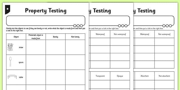 Testing Properties Activity Sheet - testing, properties, activity, worksheet