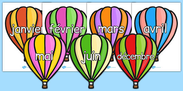 Months of the Year on Hot Air Balloons (Stripes) French - french, months, year, hot air balloons, stripes, months of the year