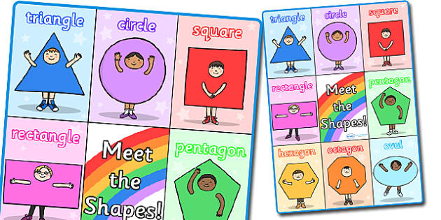 Meet the Shapes A3 Display Poster - shapes, shapes poster, shape poster, numeracy shape poster, numeracy poster, meet the shapes poster, A3 shapes poster