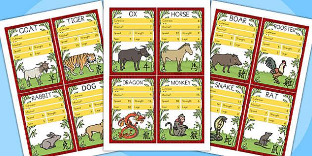 Chinese New Year Zodiac Animals Card Game - australia, top trump