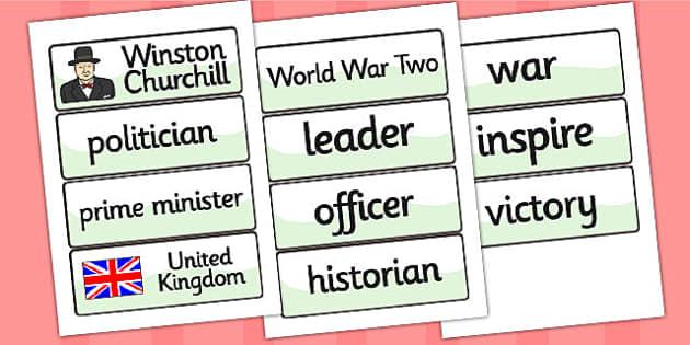 Winston Churchill Word Cards - winston churchill, word cards