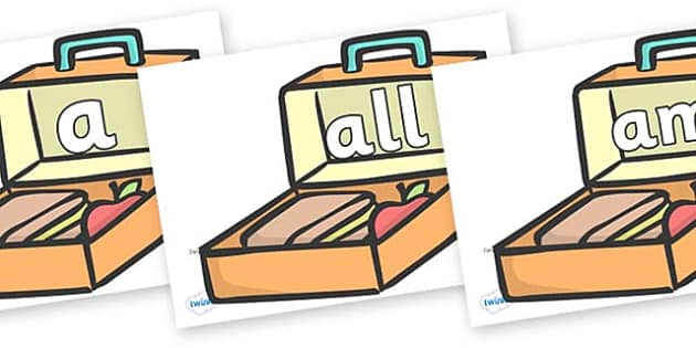 Foundation Stage 2 Keywords on Lunch Boxes - FS2, CLL, keywords, Communication language and literacy,  Display, Key words, high frequency words, foundation stage literacy, DfES Letters and Sounds, Letters and Sounds, spelling