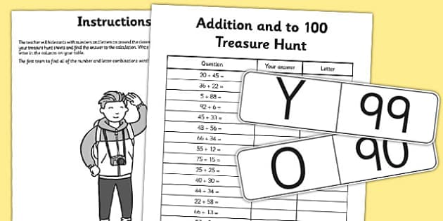 Addition to 100 Treasure Hunt Activity - addition, treasure, hunt