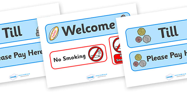 Sports Shop Role Play Signs - Sports, sport, shop, equipment, sign, signs, banner, being healthy, keeping fit, equipment, football, rugby, cricket, ball, PE