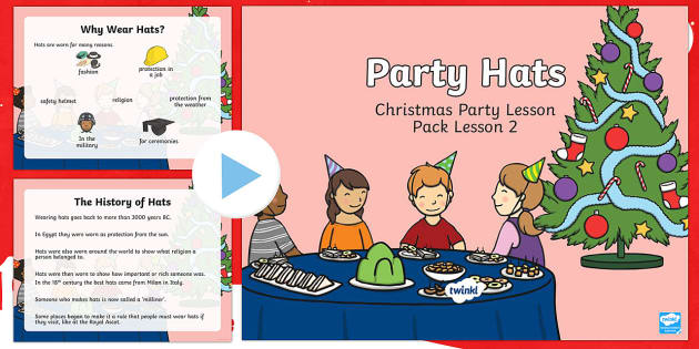 KS1 Party Hats PowerPoint - Christmas, Nativity, Jesus, xmas, Xmas, Father Christmas, Santa, party hat, Christmas party hat, KS1