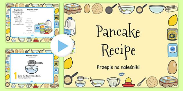 Pancake Recipe PowerPoint Polish Translation - Polish, pancake, pancake day, recipe, cooking