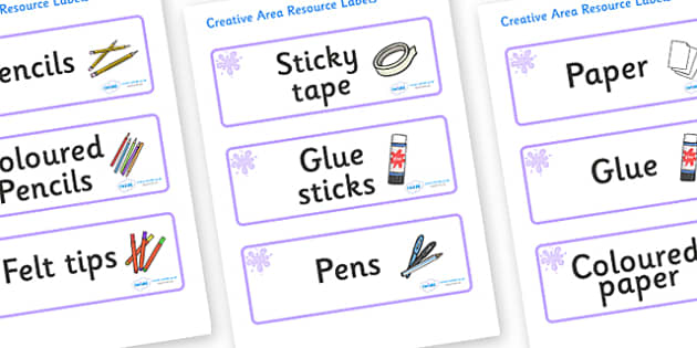 Lilac Themed Editable Creative Area Resource Labels - Themed creative resource labels, Label template, Resource Label, Name Labels, Editable Labels, Drawer Labels, KS1 Labels, Foundation Labels, Foundation Stage Labels