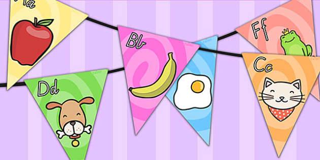 Alphabet Bunting - alphabet, a-z, alphabet display, bunting, flag, buntin