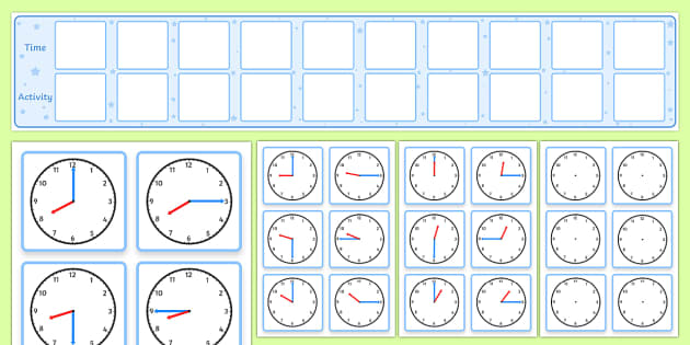 Daily Routine Display With Clocks - visual timetable display with clocks, timetable, clocks, daily, structure, stage, day, Visual Timetable, education, home school, child development, children activities, free, kids