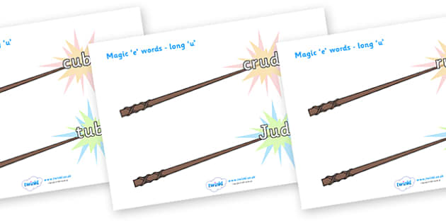 Magic E Words On Wands Long U - magic e words, words, long u , literacy, sounds, wands