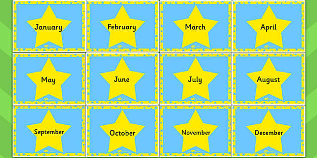 Blue and Yellow Stars Months of the Year - months, year, stars